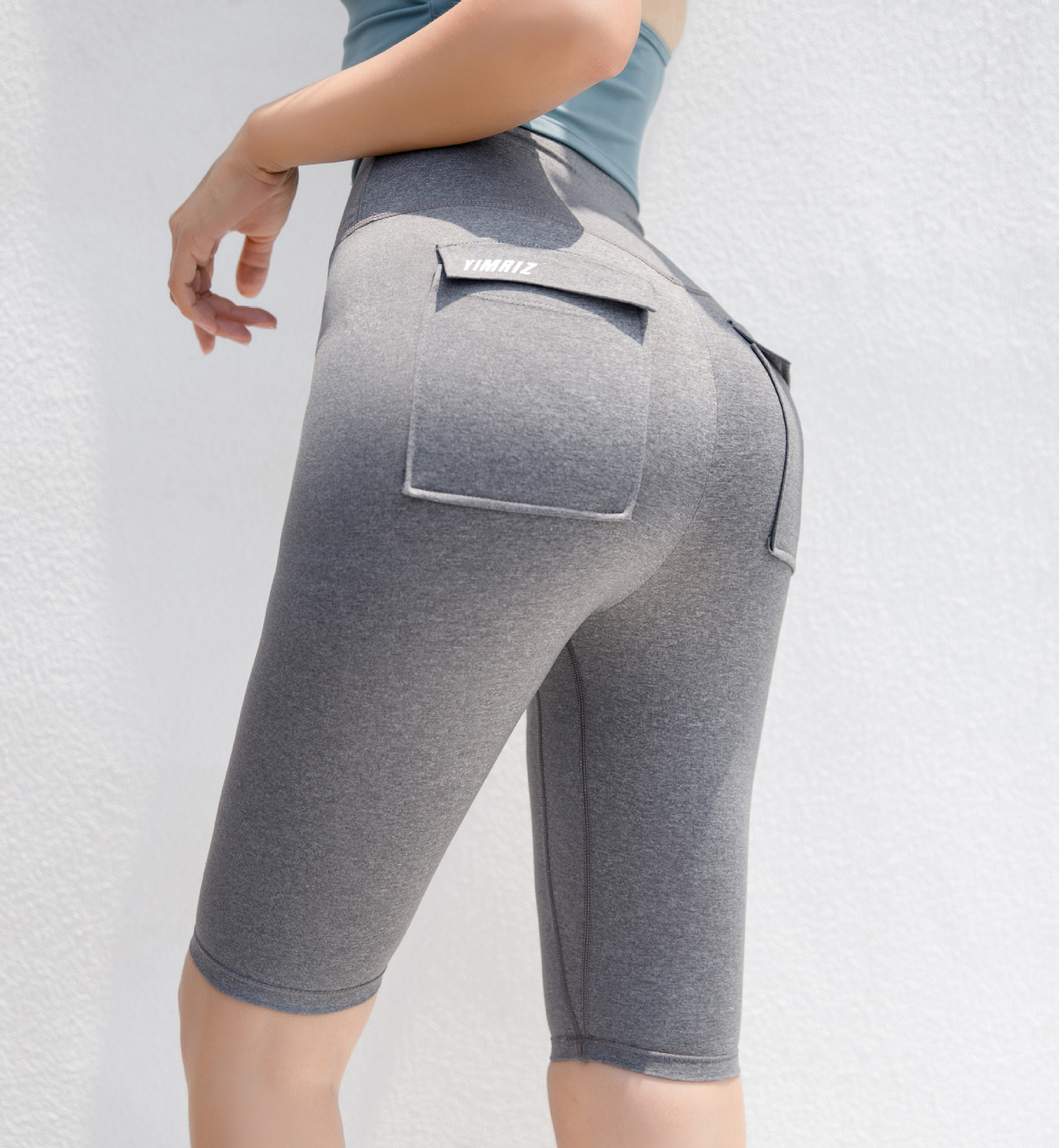 Woman Workout Capris Leggings Running Slim Fitness Quick Drying Casual Stretchy Leggings with Pocket High Waist Yoga Pants