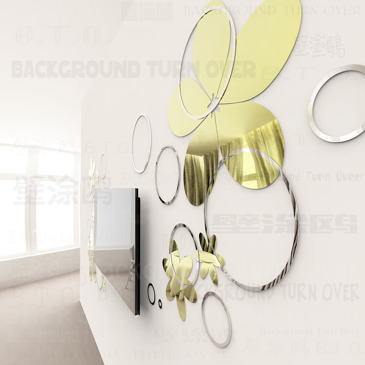Hot selling crystal shape abstract 3d mirror wall stickers bedroom living room sofa wall decal interior hair salon decor R238 - 2
