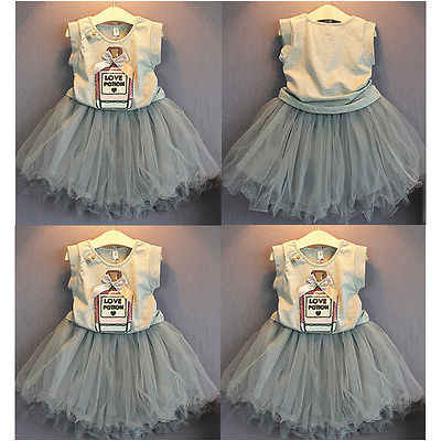 Summer  Princess Baby Girls Vest Sleeveless Letter Printed T-shirt Bow Tops+Tulle Tutu Dress Mini Skirt Party Outfits 2-7Y