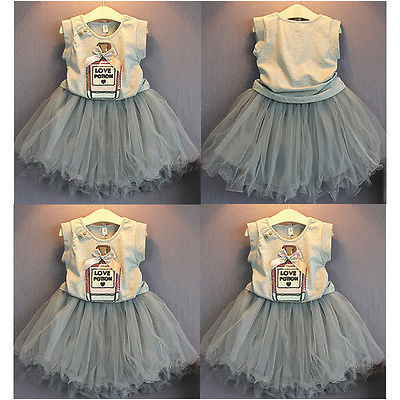 Summer  Princess Baby Girls Vest Sleeveless Letter Printed T-shirt Bow Tops+Tulle Tutu Dress Mini Skirt Party Outfits 2-7Y ems dhl free summer new girls princess dress lace bow v back tulle gauze sequin sparkle sleeveless tiers pearls beaded dress