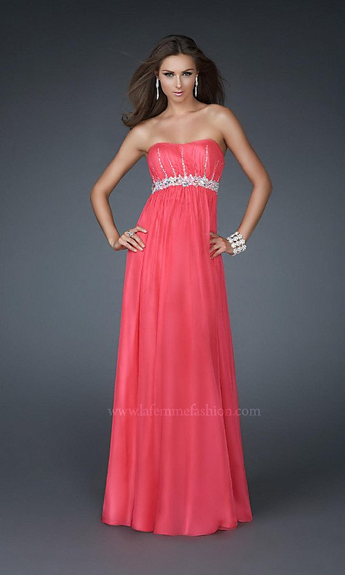 Online Shop Elegant Long Evening Gown Strapless front slit chiffon ...