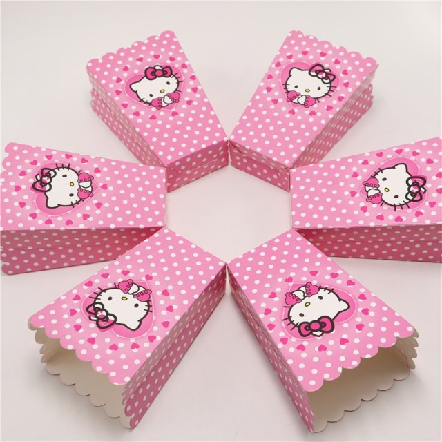 98219c723b0a Kids Favor 6pcs lot Hello Kitty Paper Popcorn Box Wedding Candy Gift Box  Baby Shower Boy Girl Birthday Party Snack Box Supply