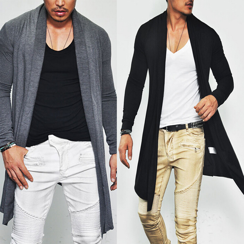 Trendy Avant garde Designer Edge Men's Slim Open Shawl Long Jacket ...