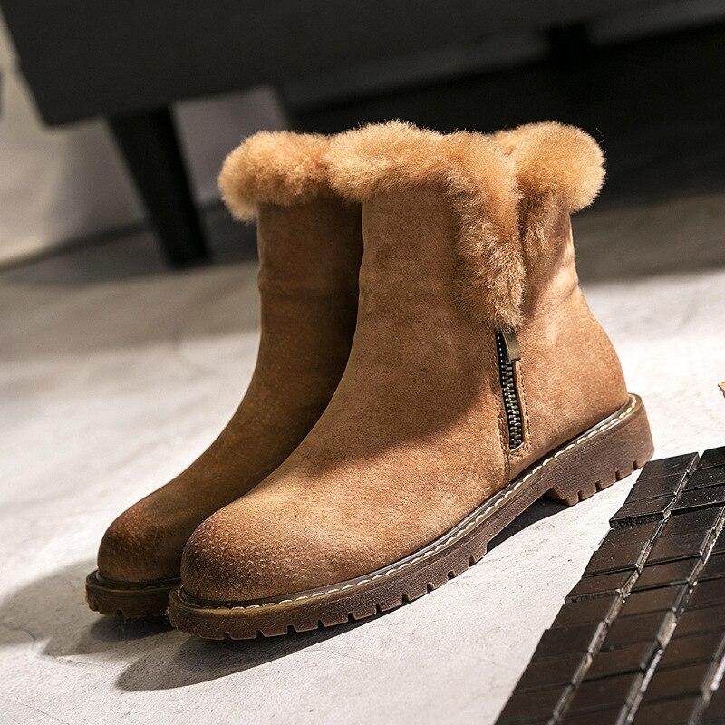 Hiver nouvelles bottes de neige en cuir bottes à semelle épaisse double fermeture éclair chaude en peau de mouton laine coton bottes