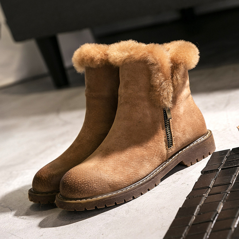 Winter new snow boots leather boots thick sole double zipper warm sheepskin wool cotton boots