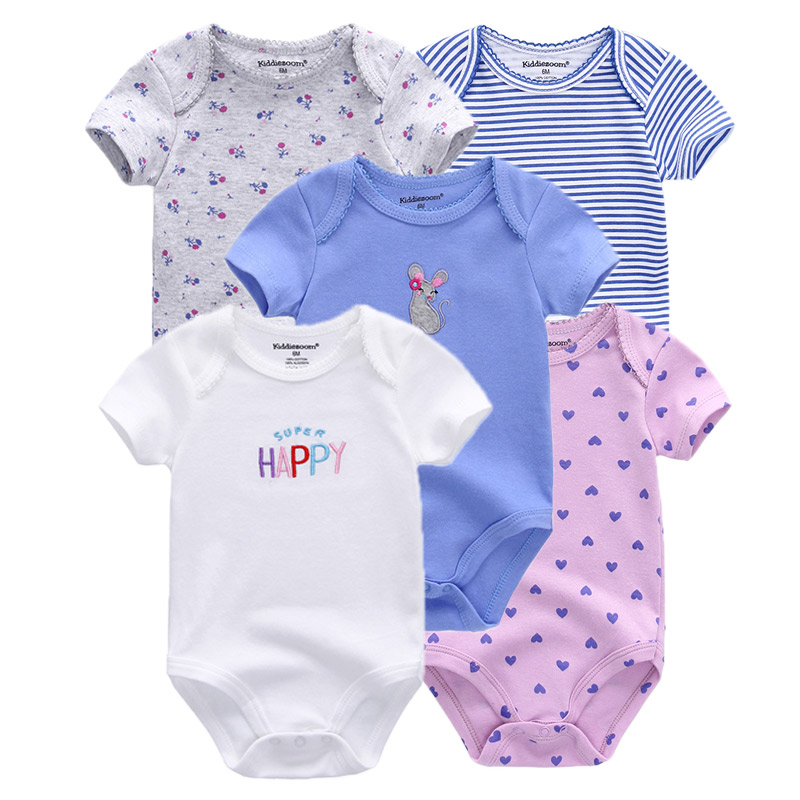 Clearance 5pcs Baby rompers 100% Cotton Infant Body Short Sleeve Clothing baby Jumpsuit Cartoon Printed Baby Boy Girl clothes