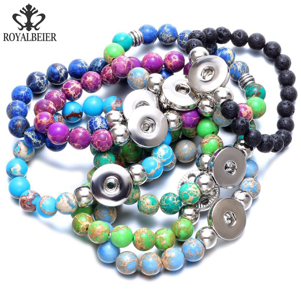 все цены на 10pcs/lot Multi Color Emperor Stone Stretched Beaded Snap Bracelet Beads Bracelet Fit 18mm Snap Button 20mm Snap Jewelry SZ0489
