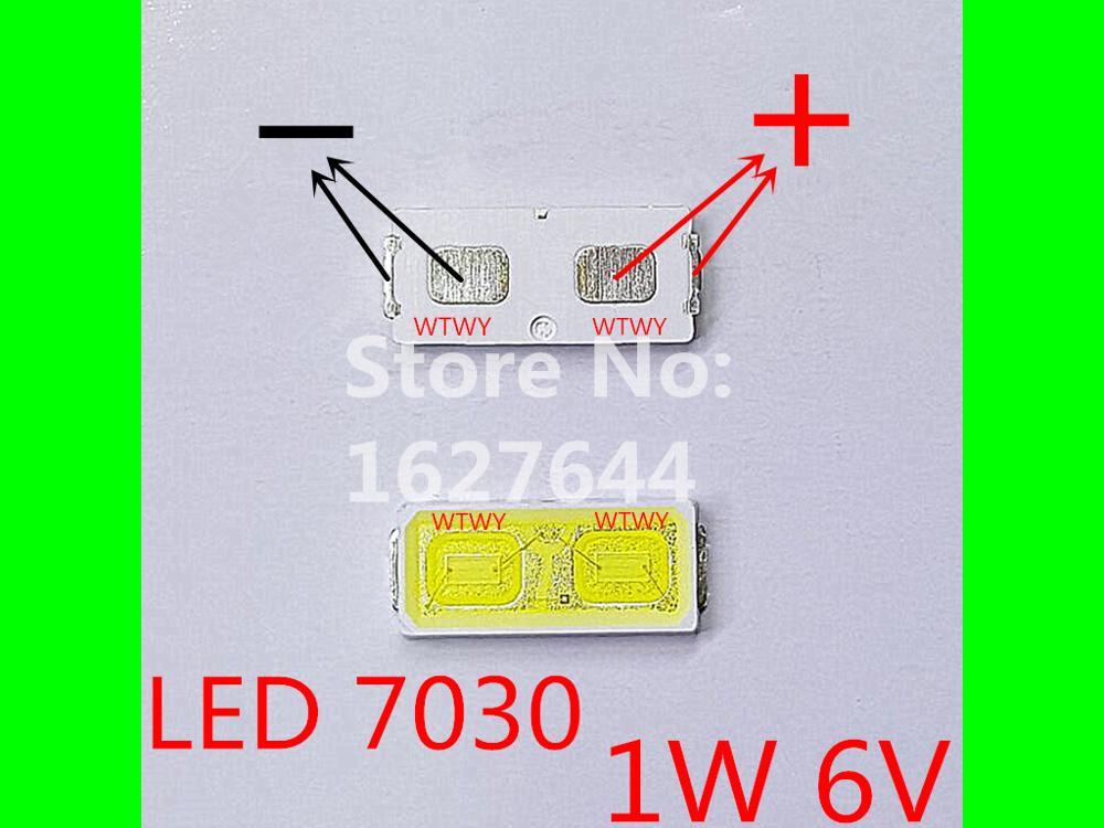 500pcs EVERLIGHT LED 7030 LED Backlight TV High Power 1W 6V LED Backlight Cool white For