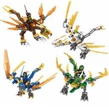4pcs / set DIY Ninja Dragon Knight Модельные наборы Building Blocks, совместимые с Lego Ninjagos Рисунки Кирпичи Игрушки для подарков для детей