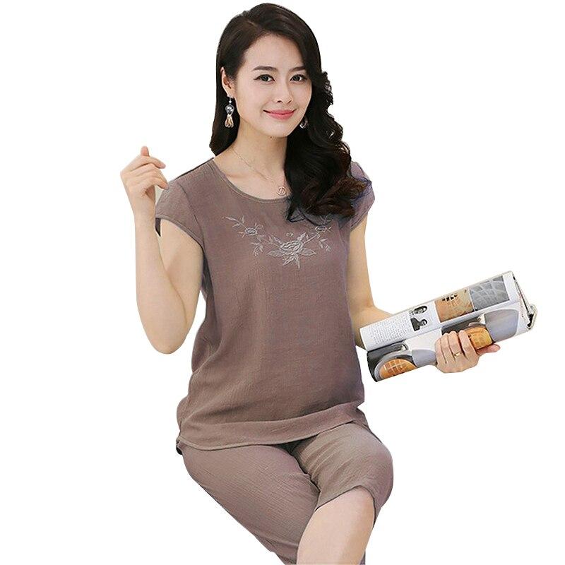 Ladies Pajamas Sets Cotton Linen Femme Casual Fashion Floral Print Women Pajamas Suits