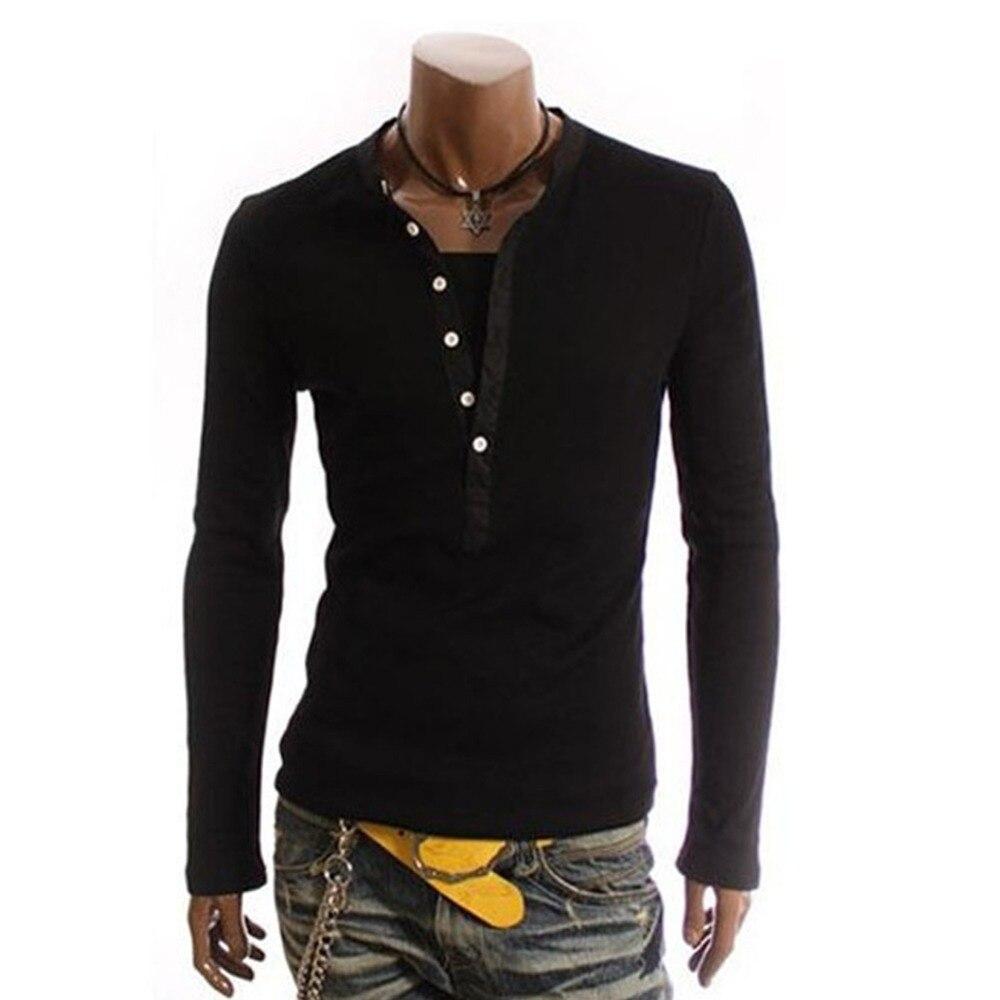 New Fashion Men T-Shirt Solid Color Long Sleeves Turtleneck Button Leisure Men T Shirt Tops Male Tshirts Clothes Streetwear LB