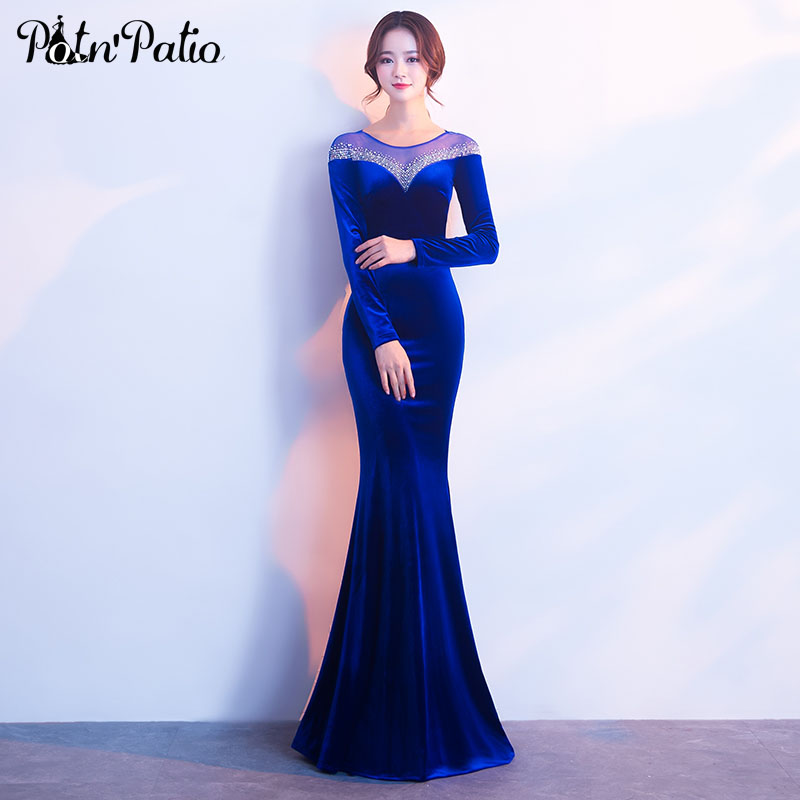 Royal Blue Velour Long Sleeve   Evening     Dress   Sexy Backless Crystal Mermaid   Evening   Gowns Plus Size Formal   Dresses   For Women