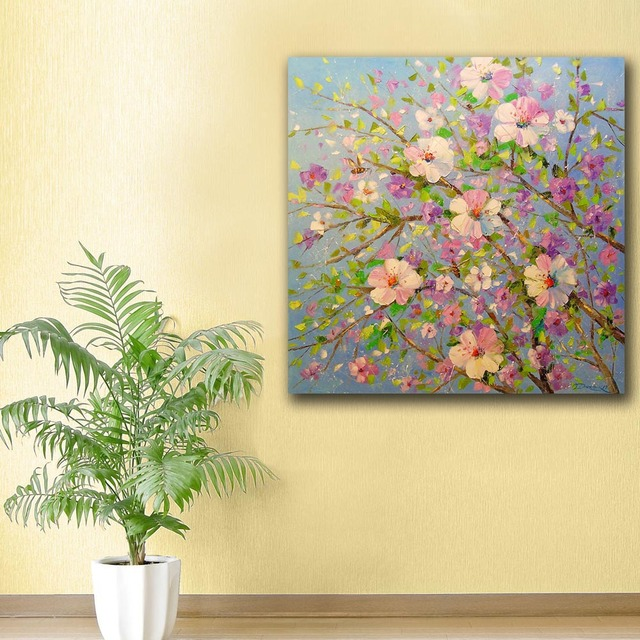 Fashion Oil Painting Apple tree in bloom Painting Home Decor On ...