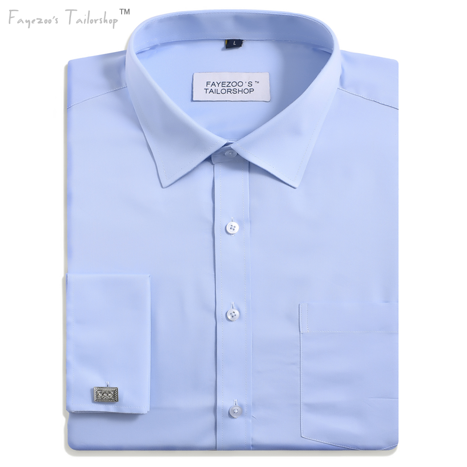 Men 39 s non iron french cuff spread collar light blue formal for Mens wide collar dress shirts