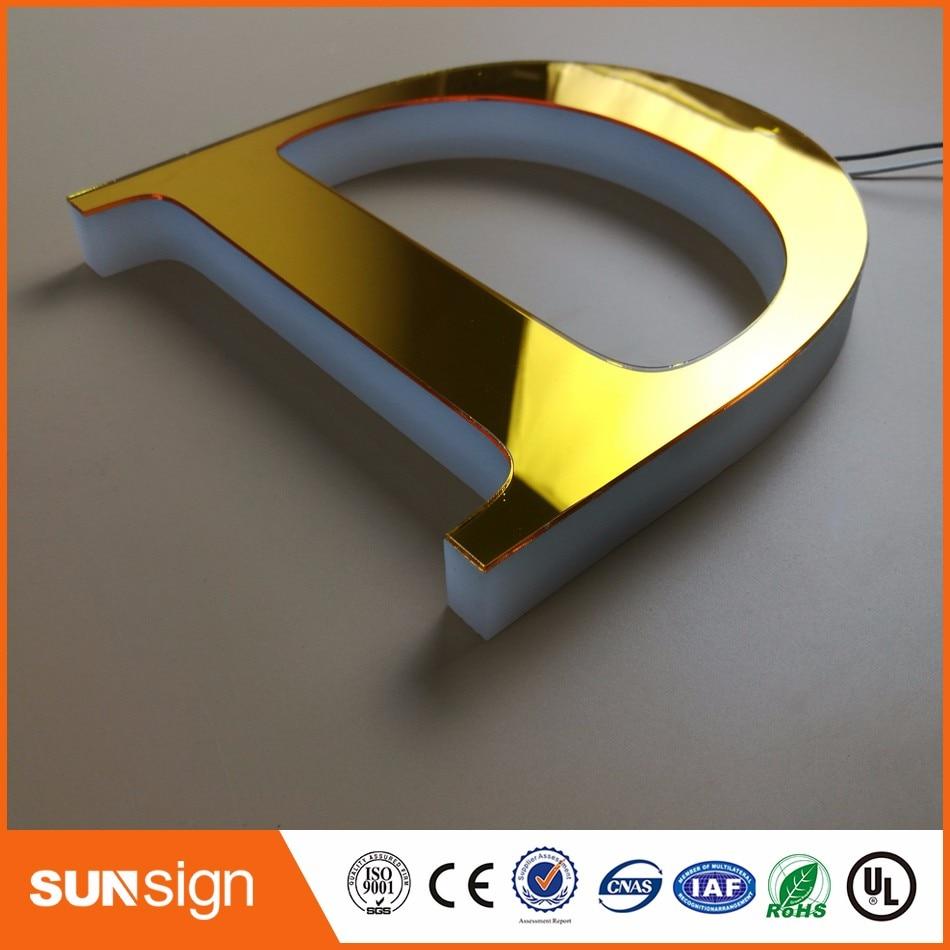 Aliexpress Custom Three Sides Illuminated Acrylic Led Light Letters For Shop Sign