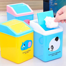 Cartoon Portable Plastic Dustbin Trash Cans Mini Table Desk Waste Container Rubbish Bin Desk Organizer for kids bedroom