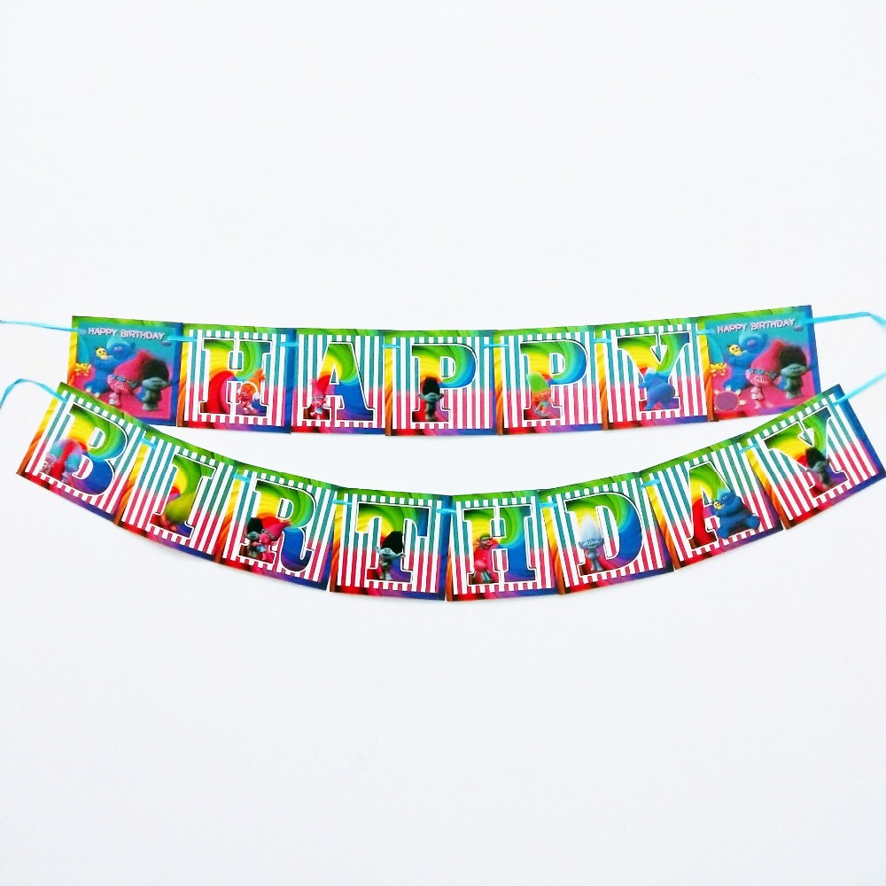 Trolls Party Supplies Tableclothes Straws Cups Napkin Plate baby shower Decoration Trolls Birthday Party Favors in Disposable Party Tableware from Home Garden