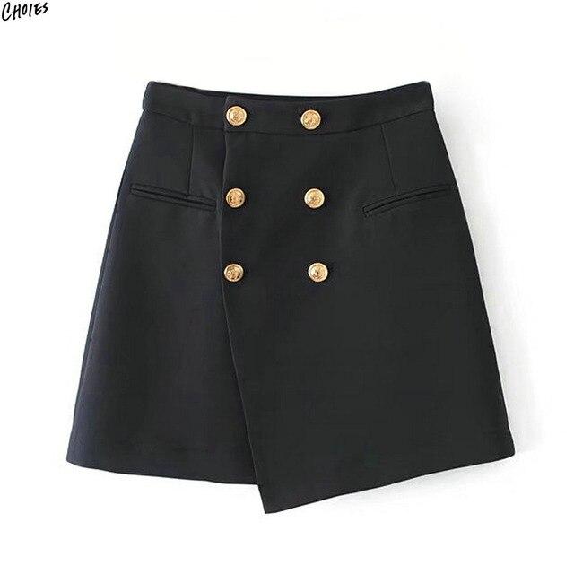 Negro Doble de Pecho Dobladillo Asimétrico Wrap Mini Una Línea de Falda de Las Mujeres Del Estilo de Inglaterra de Alta Cintura Señoras de la Oficina de Desgaste Inferior