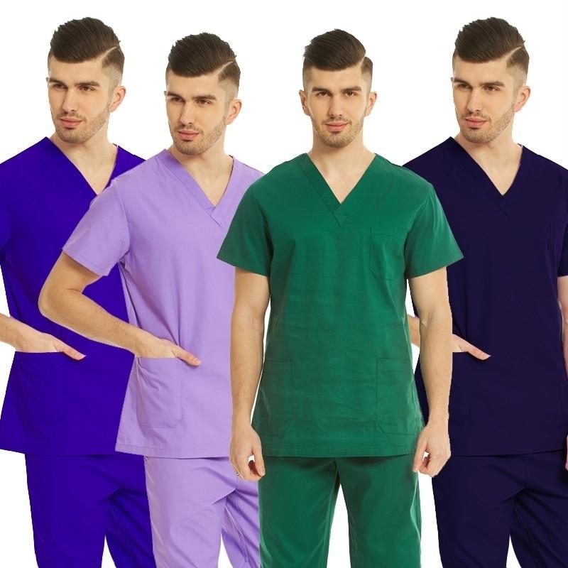 Men's Classic V Neck Scrubs Top Pure Color Shirt Nursing Scrubs Medical Uniforms With Side Vent (Just A Top) Surgery Scrubs