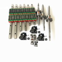HGR20 Linear Guide Kit 12 piece HGH20CA + SFU605 / 1610 1605 Ball Screw + BK BF12 Housing, CNC Parts for Spindle Motor Kit