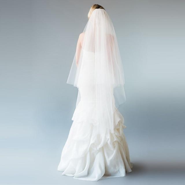 Ivory Soft Tulle Bridal Illusion Veils With Blusher 33