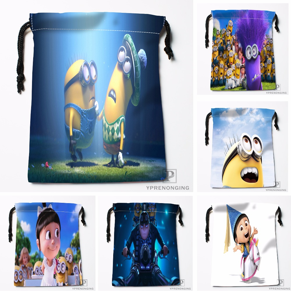 Custom Despicable Me Drawstring Bags Printing Travel Storage Mini Pouch Swim Hiking Toy Bag Size 18x22cm#180412-11-73
