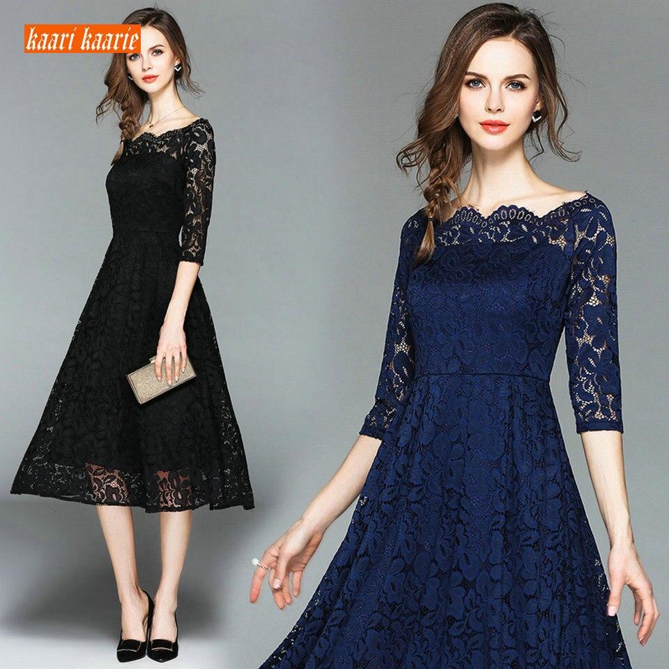 Elegant Women Black Lace Evening Dresses 2019 Dark Navy Prom Dress Scoop Zipper Beach Slim Fit