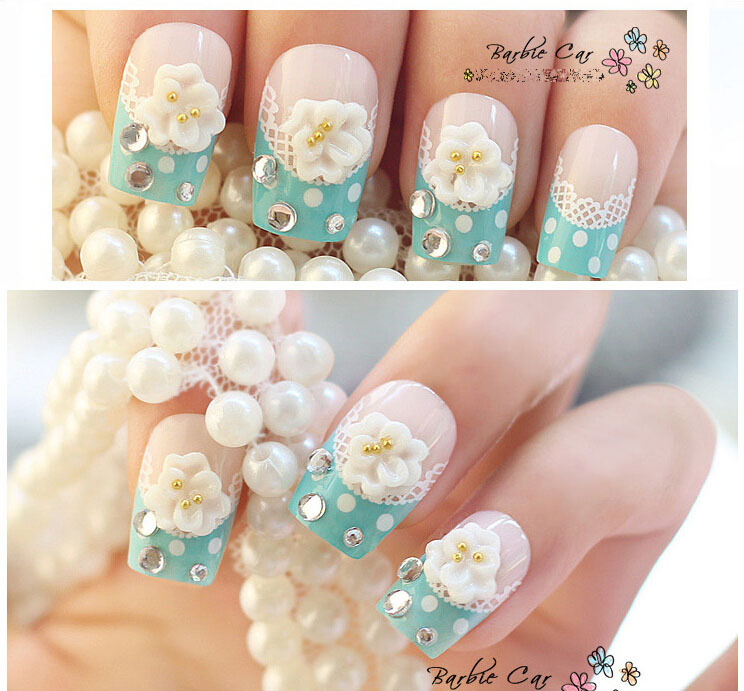 Nail stickers Bride nail False Finished manicure Fake nails Lovely patch Wedding Party Light blue Dot Bud silk Blue diamond-in False Nails from Beauty ...