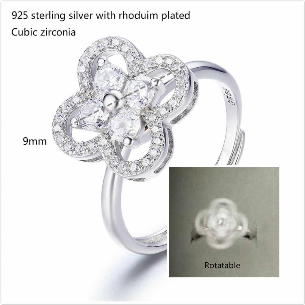 น่ารัก 925 เงินสเตอร์ลิง Clover ดอกไม้ Cz Rotatable แหวนนิ้วมือเครื่องประดับ Anillos Bague เงิน Aneis Anillo