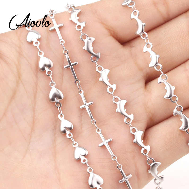Aiovlo 50cm Stainless Steel Dolphin Heart Connection Chain Accessories for DIY Necklaces Bracelets Jewelry Making Wholesale