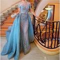 Lujo Gorgeous 2016 Vestido de Noche Azul de Manga Corta de La Sirena Vestidos de baile del Applique del cordón Con Cuentas de Tul Vestido de festa