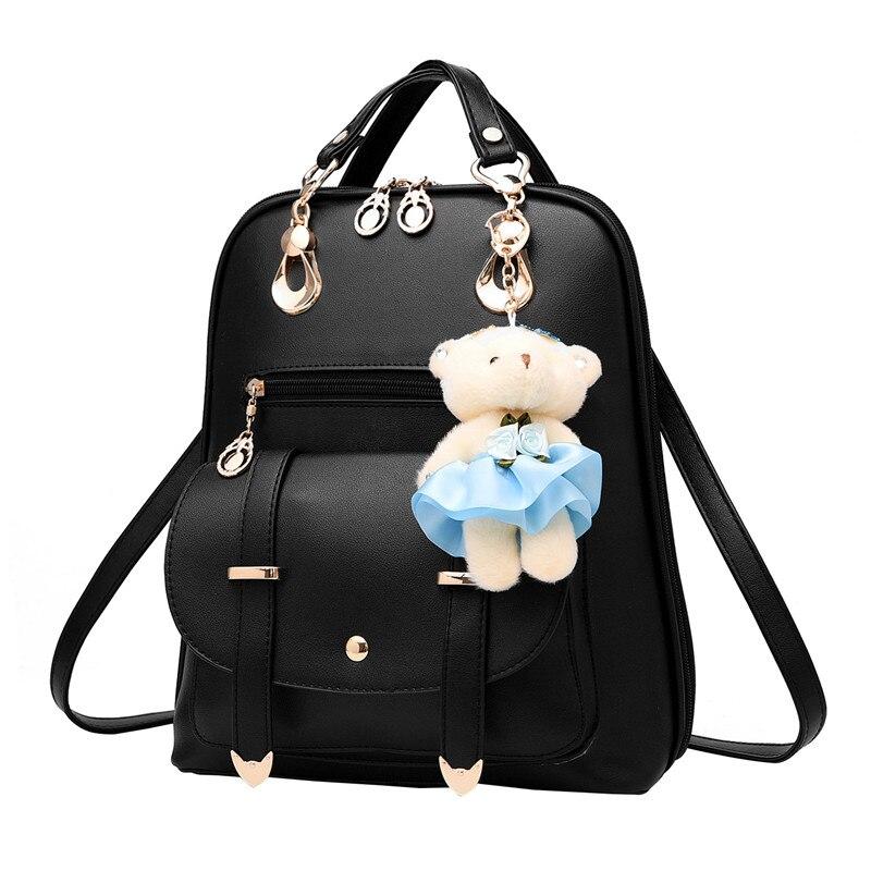 Women PU Leather Backpack Black Bolsas Mochila Feminina School Bags For Teenagers Girls Travel Shoulder Bag