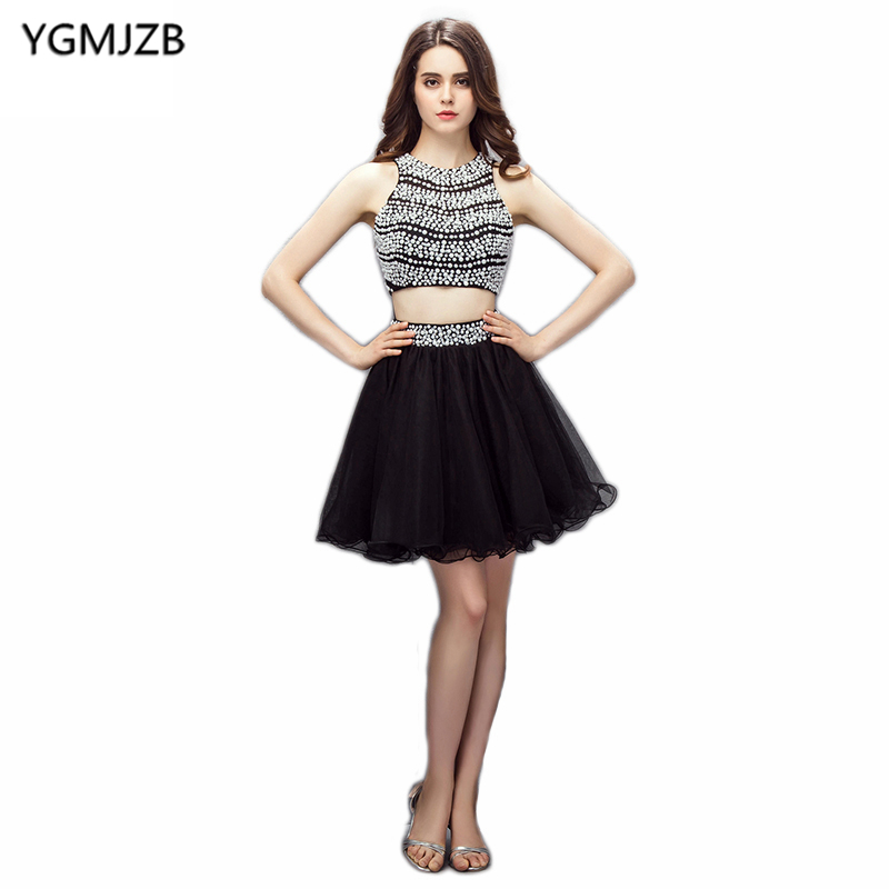 New Fashion Two Piece   Cocktail     Dresses   2018 A Line Beaded Sequined Open Back Black Short   Dress   Women Formal Party   Cocktail     Dress