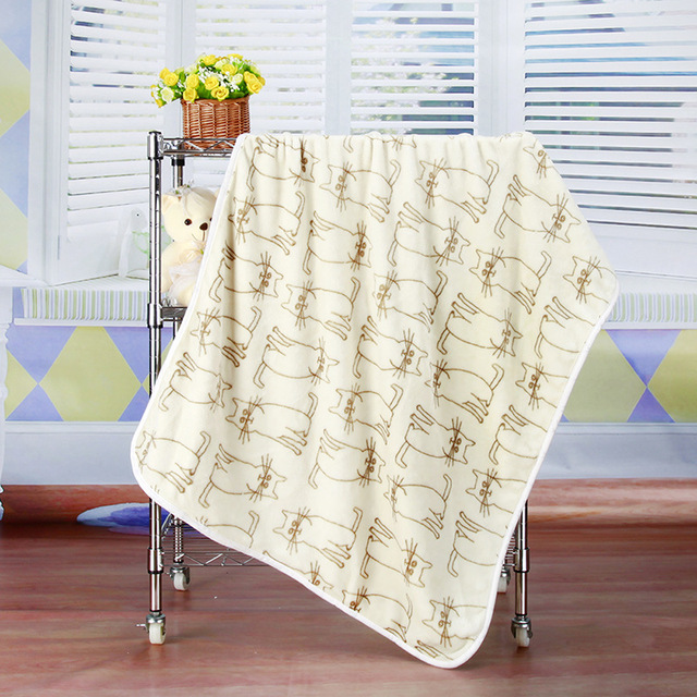New 2017 Coral Fleece Baby Blanket Cartoon Cat Printing Blanket Throws Wrap Bebe Envelope Wrap Newborn Baby Bedding Blanket