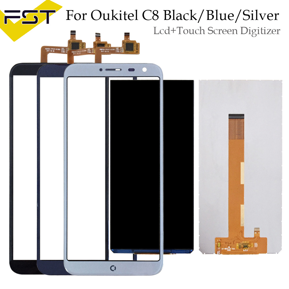 100% probado para Oukitel C8 pantalla LCD + pantalla táctil digitalizador de pantalla táctil reparación de piezas + herramientas + adhesivo LCD de Panel de vidrio para C8