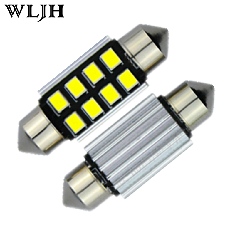 WLJH 2x Led Car Light 2835 SMD Pure White LED 38mm 39mm Canbus Error Free Festoon Number Plate Bulbs C5W 272 for Mercedes Benz 4pcs super bright t10 w5w 194 168 2825 6 smd 3030 white led canbus error free bulbs for car license plate lights white 12v
