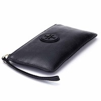 IMUCA Genuine Cow Leather Women Wallet Zipper Long Coin Purse Card Holder Universal Cell Phone Money