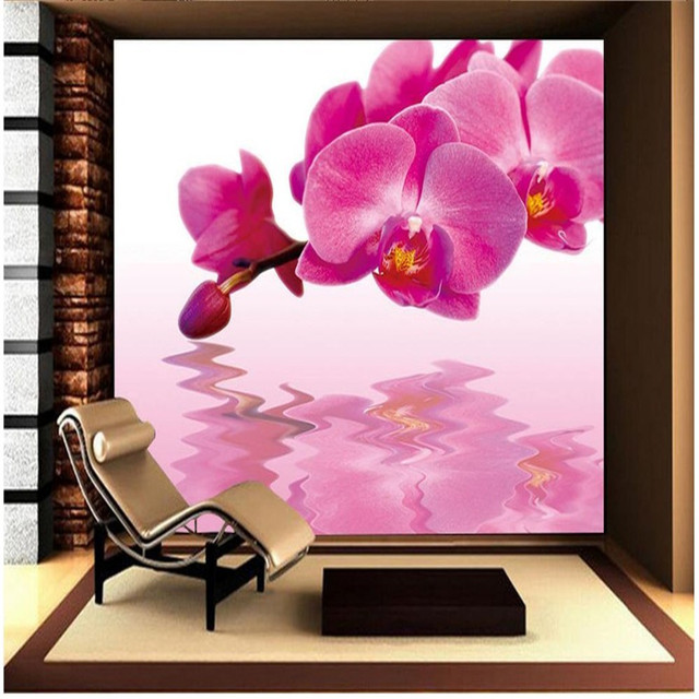 Beibehang Custom Wallpaper Butterfly Orchids Water Flower 3d Living Room For Walls 3 D Behang
