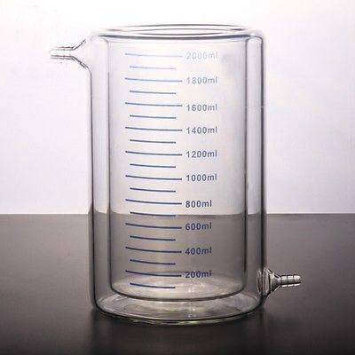 2000ml Laboratory Jacketed Borosilicate Glass Beaker Double Layer Beaker for Photocatalytic Experiment FREE SHIP 300mm 24 29 joint borosilicate glass jacket allihn bulb condenser distillation for laboratory