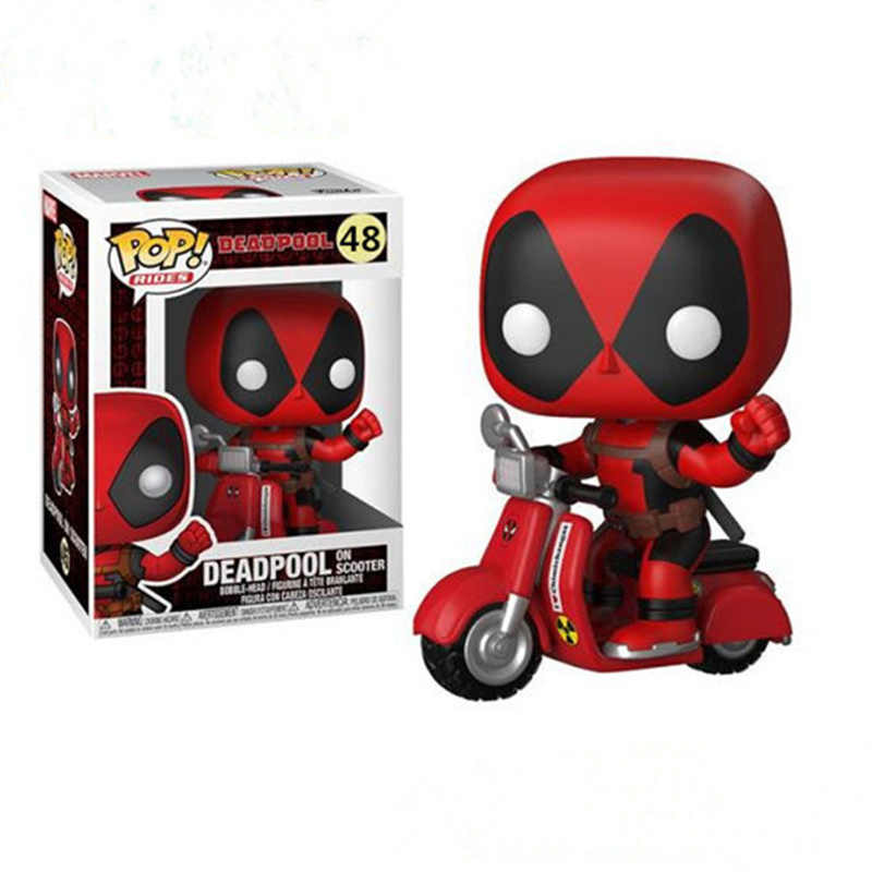 FUNKO POP Anime Marvel X-Men deadpool on scooter PVC doll Action Figure Model Decoration Collection figure Toys for children