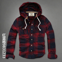 Men Plaid Hoody Shirt 100 Cotton Spring Autumn 2017 New Fashion Brand Hooded Shirt Casual Big