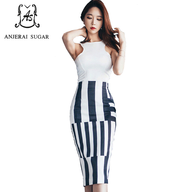 Summer Women suits Sexy slim white Sleeveless shirt and white black striped high-waisted OL office Package hip Bodycon skirt set