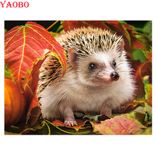Wall Sticker Diy 5D Diamond Mosaic hedgehog animal Painting Cross Stitch Kits square round Embroidery Handmade
