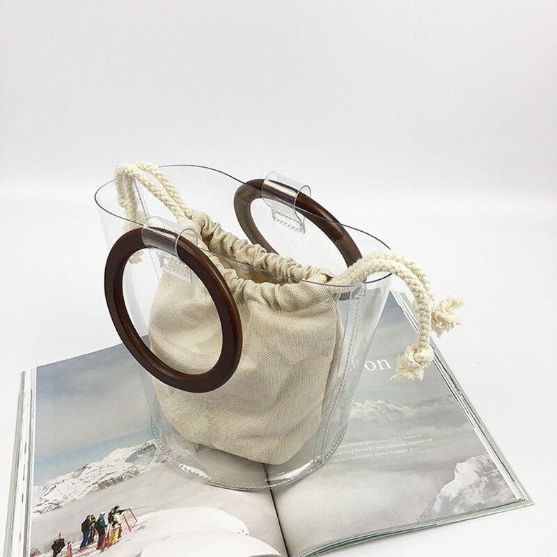 Us 1946 30 Off2018 Clear Transparent Bucket Pvc Bag Barrel Shaped Small Mini Wood Handle Handbags Women Fresh Summer Beach Bag Leisure Purses In
