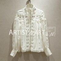 Svoryxiu элегантный выдалбливают Вышивка белая рубашка блузка Для женщин Роскошные Бисер сезон: весна–лето взлетно посадочной полосы Сексуал