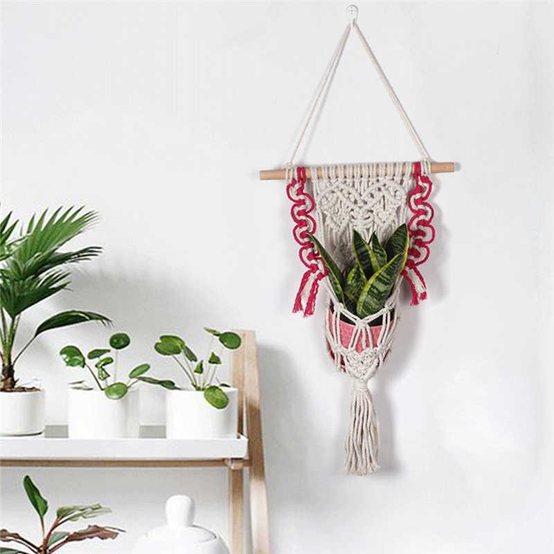 1 PC Scandinavian Tường Trang Trí Nội Thất Bắc Âu Treo Flower Pot Chủ TỰ LÀM Nhà Đồ Trang Trí Cổ Điển Tassel Craft Bohemian Hippie Tấm Thảm