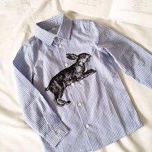 Kids Spring Autumn Shirt Boys Girls Striped printing Rabbit Pattern Shirts Blue Color Children Fashion Blouse Baby Clothes