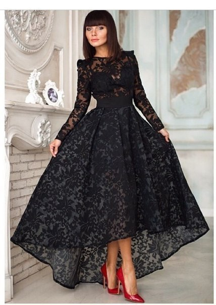 Plus Size Black Lace Prom Dresses