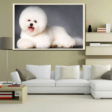 Cute Pet Dog Bichon Diamond Painting 3D DIY Cross Stitch Beaded Embroidery Painting Animal Wall Decor Moasic Diamond