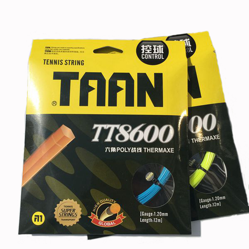 2 Pieces 12M TAAN TT8600 Tennis Strings Poly Polyester 6-angle Hard Feeling Strings 1.20mm Tennis Racket String Good Control